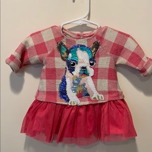 French bulldog sequin dress. Size 0-3 months.